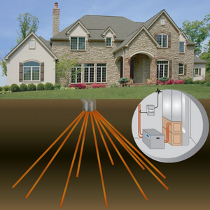 A direct exchange geothermal heating and cooling system uses the constant temperature of soil or water located below your home to heat and cool it.